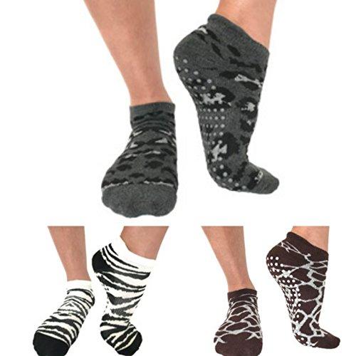 Barre Yoga Pilates Grip Socks / Animal Print / 3 Pair Donates To Animal Rescue / non slip sticky socks by Teila