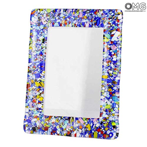 Original Murano Glass OMG Photo Frame Color Fantasy - Blue Glass Medium - 24x19 cm 9.4 x 7.4 inc
