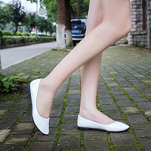 Lady Schuhe On Müßiggänger Weiß Casual IGEMY Spitze Flache Slip Leder Damen fqwzqH