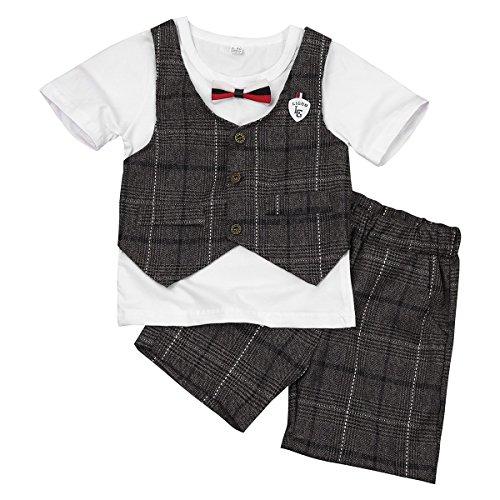 IINIIM 2PCS Bébé Garçon Ensemble de Vêtement Coton Grille Haut T-shirt Gilet+Shorts Baptême Chemise à carreaux Tee Pantalon Courts Mignon 9 Mois-8 Ans