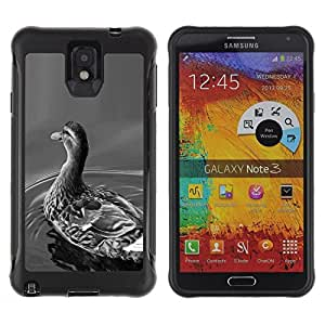 LASTONE PHONE CASE / Suave Silicona Caso Carcasa de Caucho Funda para Samsung Note 3 / Duck Grey Pond Black White Nature Bird