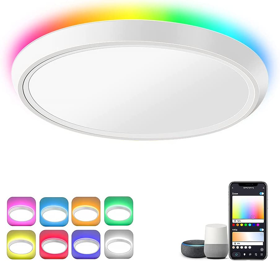 HueLiv Ceiling Light, Smart Flush Mount Ceiling Light Wi-Fi LED Compatible with Alexa & Google Home RGBW Dimmable for Bedroom | Living Room | 2200LM | App Control, 12 Inch 24W