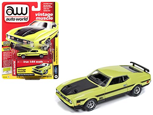 Auto World 1972 Ford Mustang Mach 1 Lime Green Black Stripes Vintage Muscle Limited Edition to 3,960 Pieces Worldwide 1/64 Diecast Model Car 64192/AWSP016B from Auto World