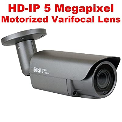 GW Security 5MP 2592 x 1920 Pixel 4X Optical Zoom H.265 Outdoor PoE 1920P Security IP Camera with 2.8-12mm Varifocal Motorized Zoom Len and Super Array LED up to 130FT IR Distance