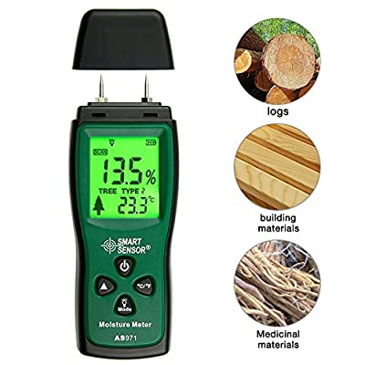 Wood Moisture Meter, 2-Pin and 4 Kinds of Wood Types Portable Moisture Detector with LCD Display, Range 2%~70%, Suitable for Wood, Furniture, Flooring, Building Materials and Trees