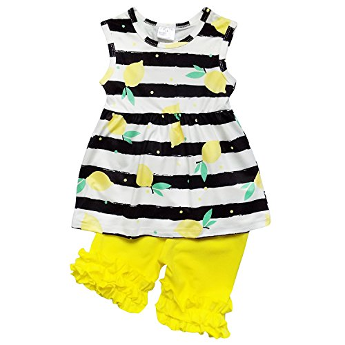 So Sydney Girls Or Toddler Deluxe Novelty Ruffle Summer Boutique Shorts Outfit (XL (6), Lemon Stripe)