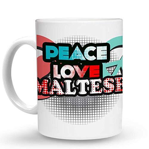 - Makoroni - PEACE LOVE MALTESE Dog Dogs - 11 Oz. Unique COFFEE MUG, Coffee Cup