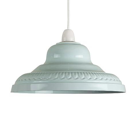 MiniSun - Pantalla metálica vintage para lámpara de techo, del afamado estilo arco - azul blanco