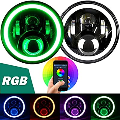 "Aukmak 7 inch LED Headlights RGB Halo Ring Angel Eyes 7"" Round Multicolor DRL Bluetooth Remote Control for Jeep Wrangler JK LJ CJ Sahara Sport Rubicon Headlamp 1997~2020: Automotive"