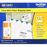 Brother 4 x 6 Inch Die Cut White Paper Labels 200 Count (DK1241) - Retail Packaging