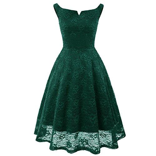 Nouvelle paule Robe Mode Audrey Hepburn Basique Lace Robe Rose/Rouge/Vert/Blue/Noir De Soire Green