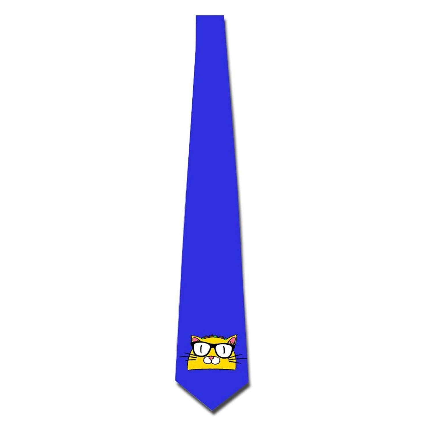 Men's Necktie Polyester Neckwear Silk Neckcloth Cat With Glasses Party Accessory