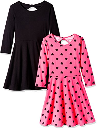 The Children's Place Little Girls' Skater Style Dress (Pack of 2), Black/Pink, S (5/6)