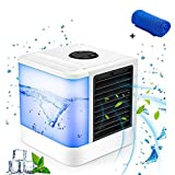 Air Cooler Portable Air Conditioner Personal Evaporative Air Cooler Purifier Humidifier Desktop Cooling Fan with 3 Speeds and 7 Colors LED Night Light Perfect for Office Home Outdoor Travel