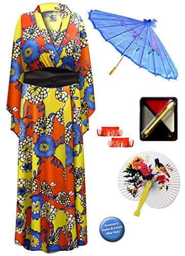 Geisha Costume Sash (Chrysanthemum Geisha Robe Plus Size Supersize Costume - Deluxe Kit)