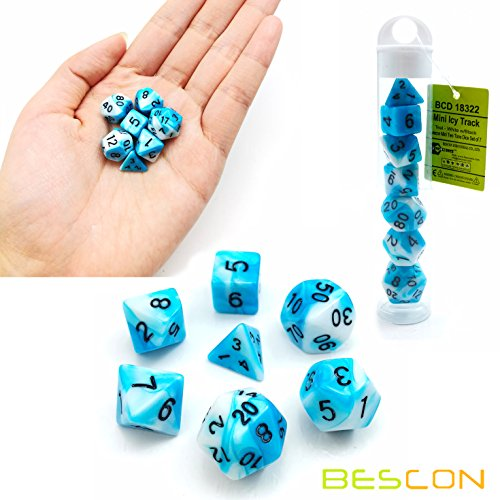 Bescon Mini Gemini Two Tone Polyhedral RPG Dice Set 10MM, Small Mini RPG Role Playing Game Dice D4-D20 in Tube, Mini ICY Track