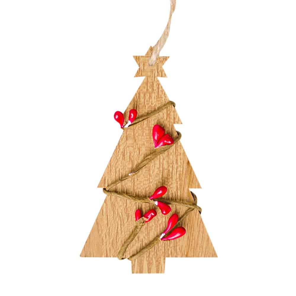 1Pc Navidad Árbol De Chips De Madera Adornos Navidad Colgante ...