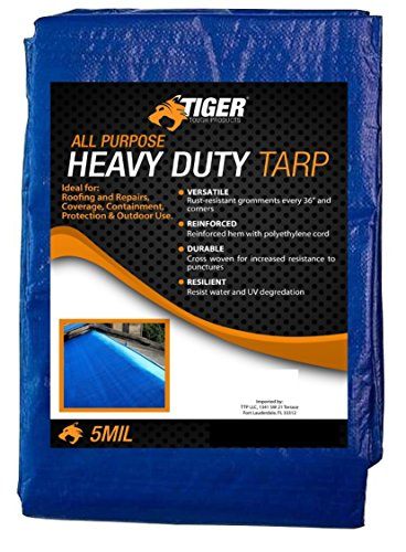 Tiger Tough All Purpose Heavy Duty Tarp True 5 Mil Thick Durability (20 x 30 Feet)