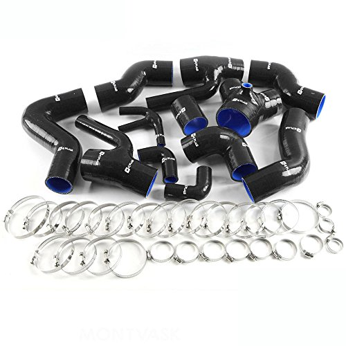 Silicone Boost Piping Hose Kit For Audi S4 RS4 A6 B5 C5 2.7L Bi-Turbo 1997-2001 Black
