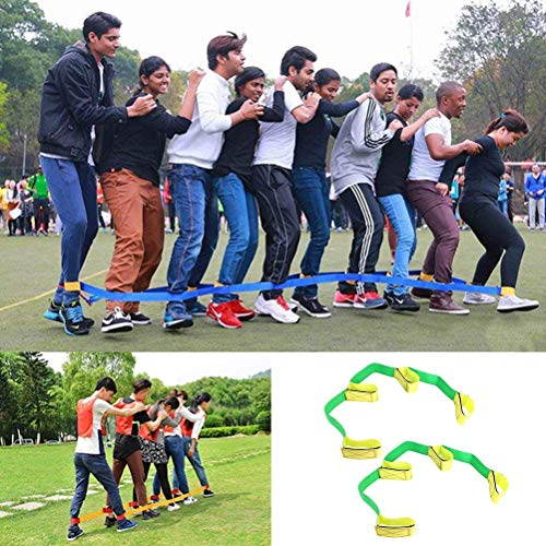 Uspacific 2Pcs 4 Legged Race Bands, Outdoor Activities Teamwork Training for Kids Adults Relay Race Game, Carnival, Field Day and Backyard ()