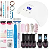 #9: Gellen Gel Nail Polish Starter Kit with 24W LED lamp Base Top Coat, Manicure Tools Popular Nail Art Designs #1
