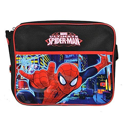 Messenger-Tasche / Schultertasche mit Spiderman-Motiv, Kunstleder Schwarz/Rot/Blau