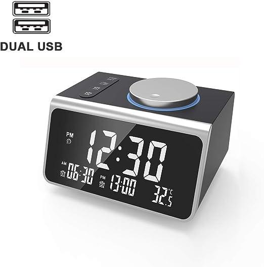TOPYL Radio Reloj Despertador con Radio FM, Doble Carga del USB ...