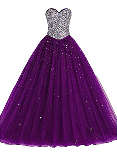 Long Tulle Crystals Ball Gown Sequined Top Corset Beaded Prom Quinceanera Dresses Plum Purple US 8 (Prom Corset Dress)