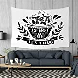 Anniutwo Quote Art Wall Decor Piping Hot Stylized Cup of Beverage and Tea is Not a Drink It is a Hug Text Tapestry Wall Tapestry W60 x L51 (inch) Black and White