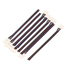 uxcell® 10Pcs 15cm Long 10mm Width 4 Pin Wire Connector for Led 5050 RGB Light Strip
