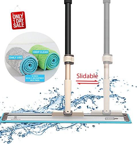 "18"" Professional Silva Microfiber Mop System + 2 Free Microfiber Mop Pads + Scraper Cleaner   Efficient Slidable Plate Design   Premium Hardwood Floor Mop, Dust Mop and Tile Mop , Wet or Dry."