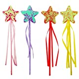 Fairy Star Princess Wands Shiny glitter Dress Up Party supplies for Kids 4 Pack