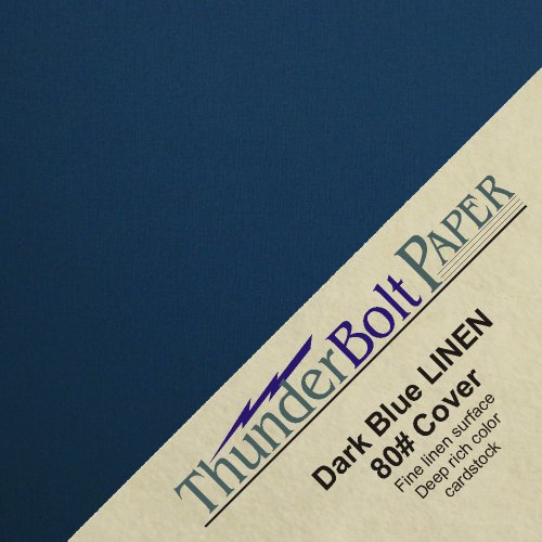 100 Dark Navy Blue Linen 80# Cover Paper Sheets - 4