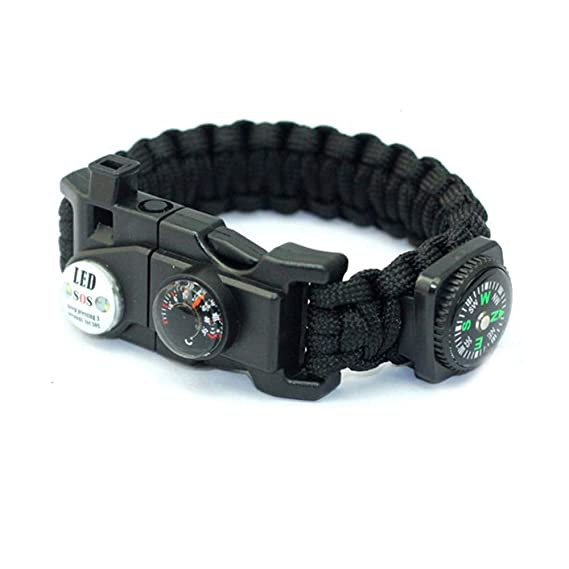 Amazon.com : Volwco 21-in-1 Survival Paracord Bracelet, Army Bracelet with SOS LED Light, Paracord Rope, Fire Starter, Compass, Emergency Whistle and Knife ...