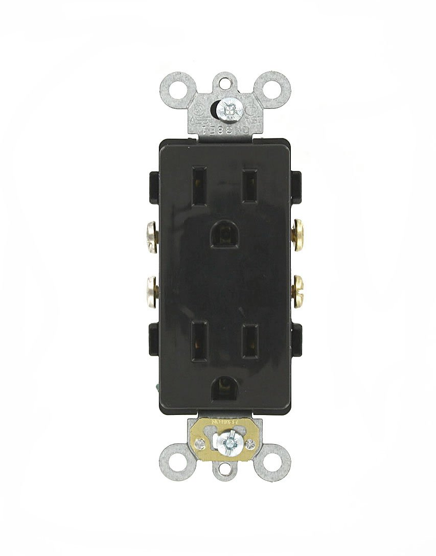 Leviton 16242-E 15 Amp, 125 Volt, Decora Plus Duplex Receptacle, Straight Blade, Commercial Grade, Self Grounding, Black