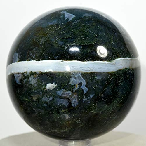 65mm Rich Green Blue White Moss Agate Sphere Colorful Natural Sparkling Crystal Polished Mineral Stone Ball - India + Stand