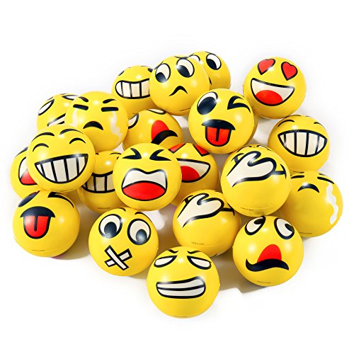 Set of 24 Face Emoji Stress Balls Bulk ? Soft Foam Stress Ball Squeeze Toys for Kids (3 inches ...
