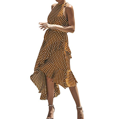 HGWXX7 Women Sexy Boho Dot Irregular Hem Cocktail Beach Evening Party Long Dress (XL, Brown) from HGWXX7