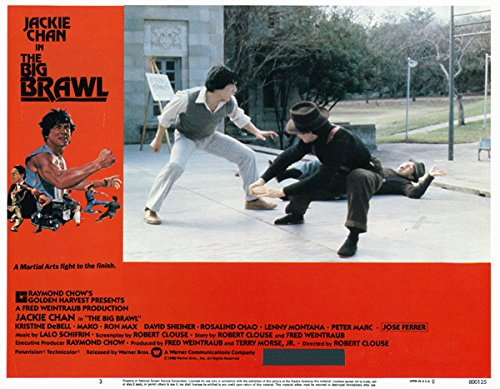 The Big Brawl Jackie Chan 11x14 lobby card fight scene with two guys