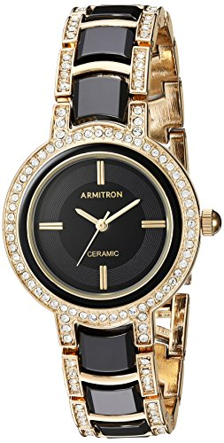 Armitron-Womens-Quartz-Metal-and-Ceramic-Dress-Watch-ColorBlack-Model-755452BKGP