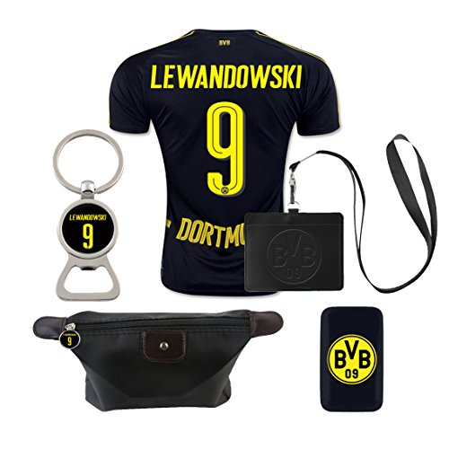 (#9 Lewandowski (6 in 1 Combo) Dortmund Away Match Adult Soccer Jersey)