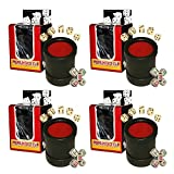 Bundle of 4 Las Vegas Style Premium Dice Cups (20 Pip Dice + 20 Poker Dice)