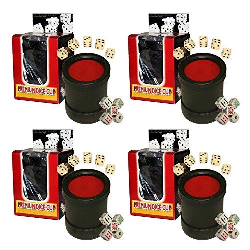 Bundle of 4 Las Vegas Style Premium Dice Cups (20 Pip Dice + 20 Poker Dice) by Cyber-Deals