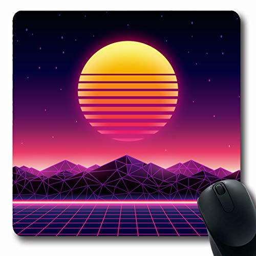 Ahawoso Mousepads Sun Purple Retro Futuristic Digital Vintage Universe Blue Neon Sunset Wave Music Space Design Oblong Shape 7.9 x 9.5 Inches Non-Slip Gaming Mouse Pad Rubber Oblong Mat