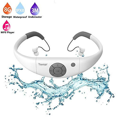 Tayogo 8GB Waterproof MP3 Player, IPX8 Swimming Waterproof Headphones Work for 6-8 Hours Underwater 3 Meters with Shuffle Feature - White