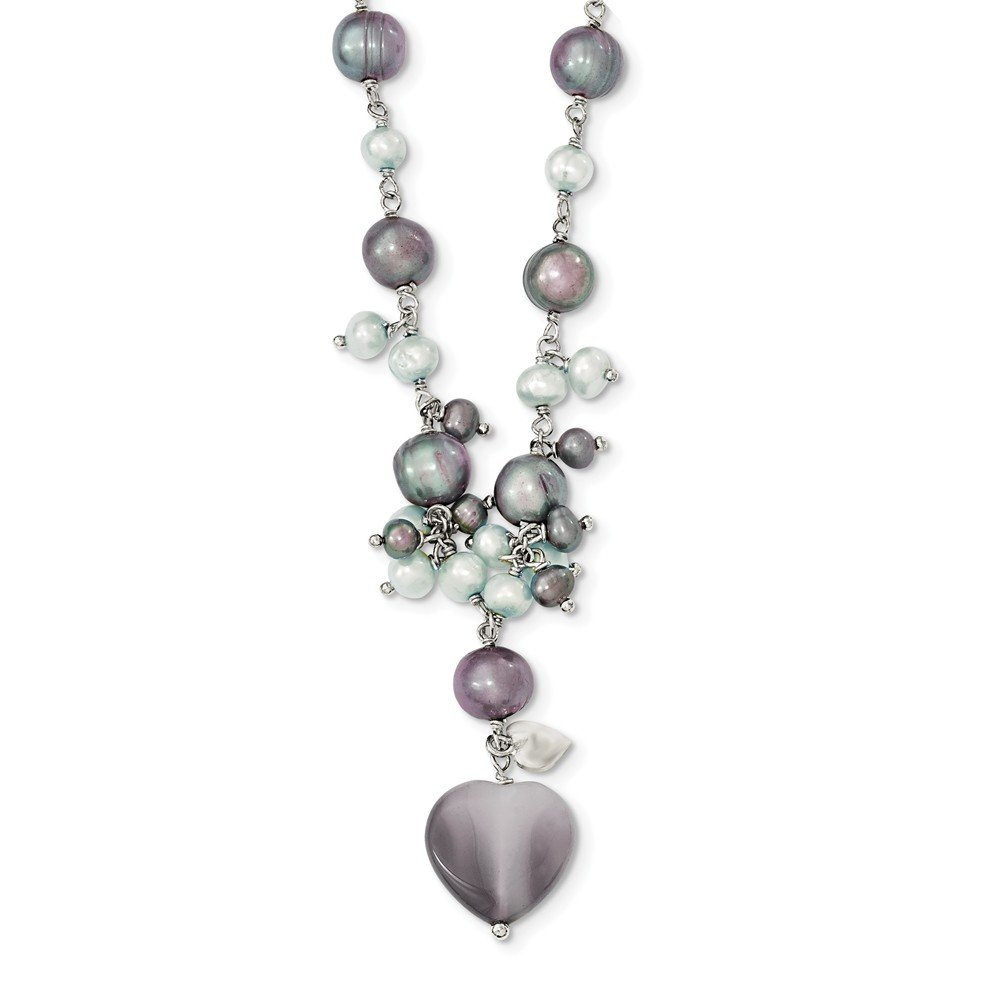 Best Designer Jewelry Sterling Silver Botswana Agate/FW Cultured Peacock & Lt.Blue Pearl Neck