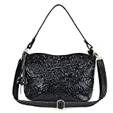 Womens Rose Embossed Leather Shoulder Bags Ladies Cross Purses Zipper Handbags Satchel (black)