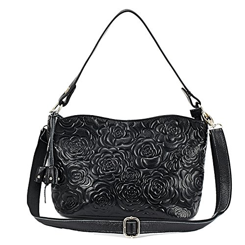 - Womens Rose Embossed Leather Shoulder Bags Ladies Cross Purses Zipper Handbags Satchel (black)