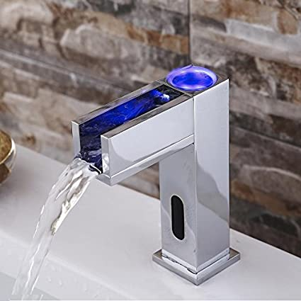 Gangang Led Automatic Touchless Sensor Waterfall Bathroom Sink Vessel Hot  And Cold Faucet (waterfull B