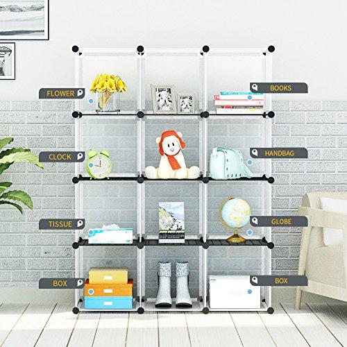 KOUSI Portable Storage Shelf Cube Shelving Bookcase Bookshelf Cubby Organizing Closet Toy Organizer Cabinet, Transparent White, 12 Cubes Storage